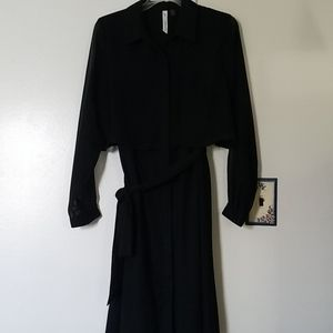 Collar belted jet black dress